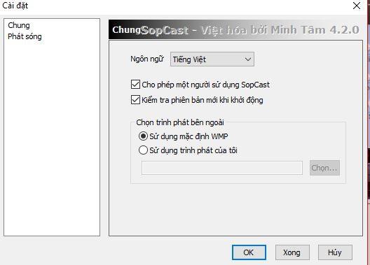 Một số cài đặt khác của Sopcast