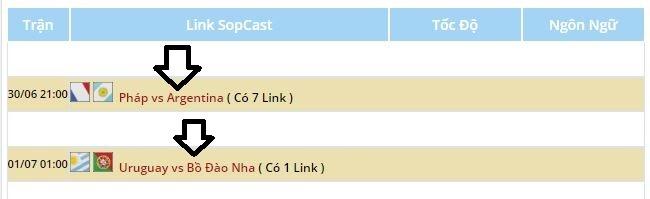 Lấy đường link liên kết sopcast